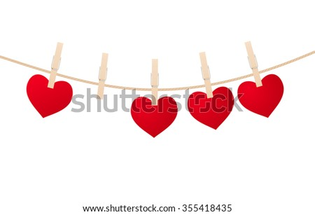heart clothespins isolated on white background. vector illustration