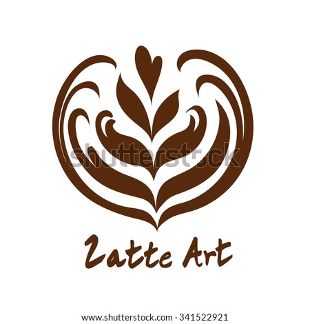 Heart Coffee Latte Art Logo Icon with white background - stock vector