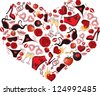 Heart, consisting of a number of individual objects - stock vector