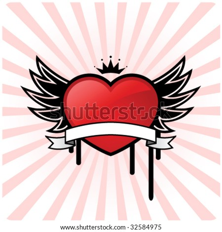 Heart design with wings and banner - stock vector