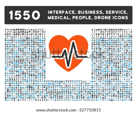 Heart Diagram and other web interface, business tools, people poses, medical service vector icons. Style is flat symbols, bicolored, rounded angles, white background.