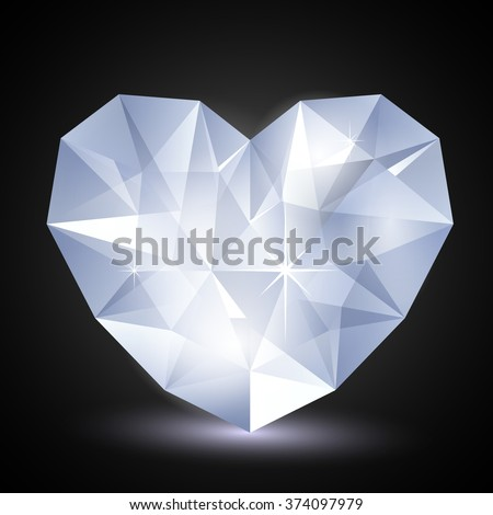 Heart diamond in low poly style/ Diamond heart shape, vector format for valentine or wedding concept.  - stock vector