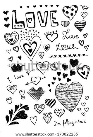 Heart Doodles - stock vector