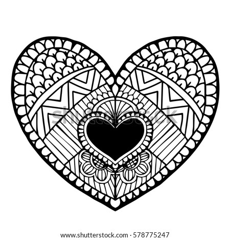 Heart Drawing Coloring Book Doodle Vector Stock Vector (Royalty Free ...