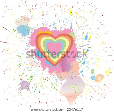 heart drawn by paint - stock vector