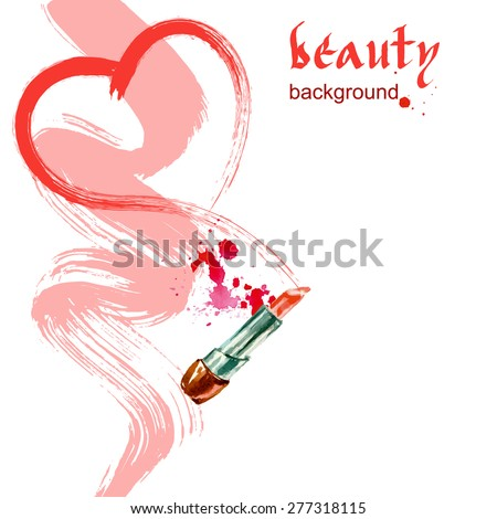 Heart drawn red lipstick. Watercolor Beauty and cosmetics background. Vector illustration. - stock vector