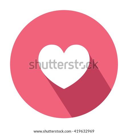 Heart emoticon symbol. Flat style. Shadow. Facebook love symbol - stock vector