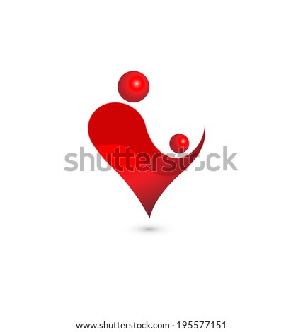 Heart figure of mom and baby - stock vector