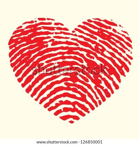 heart finger print - stock vector