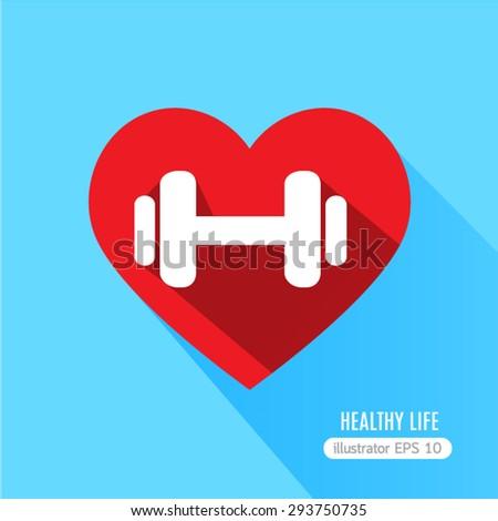 Heart fitness flat  icon - stock vector