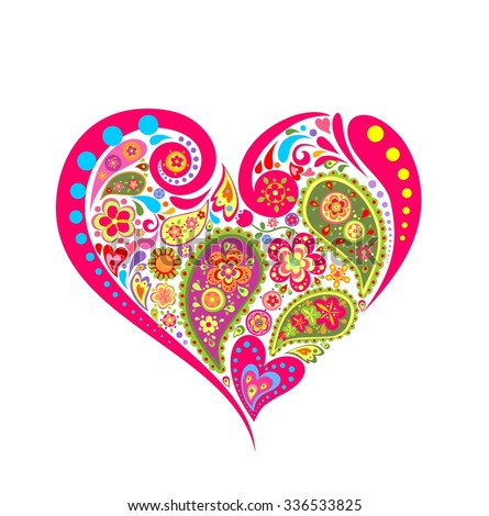Heart floral shape with paisley - stock vector