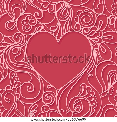 Heart frame on  red background. Lace seamless pattern. Valentines day card.  - stock vector