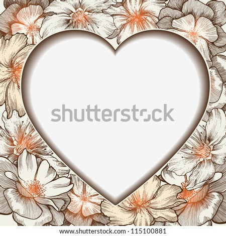 Heart frame with glamorous roses, hand-drawing. Vector illustration. - stock vector