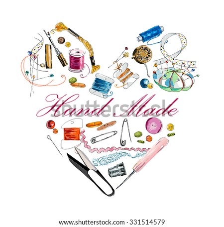 Heart from accessories to sewing and an embroidery. Scissors, bobbins with thread and needles. Threads & tools for embroidery. Hand drawn vector illustration - stock vector