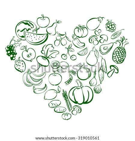Heart from food fruits and vegetables icon  sketch vector illustration - stock vector