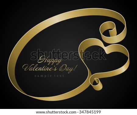 Heart from golden shiny ribbon Valentine's day Greeting Card vector background - stock vector