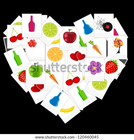 Heart from instant photos vector illustration - stock vector