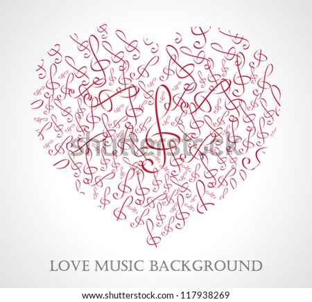 Heart from music notes. Vector illustration - stock vector