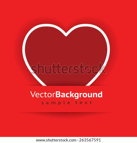 Heart from paper Valentines day card vector background - stock vector
