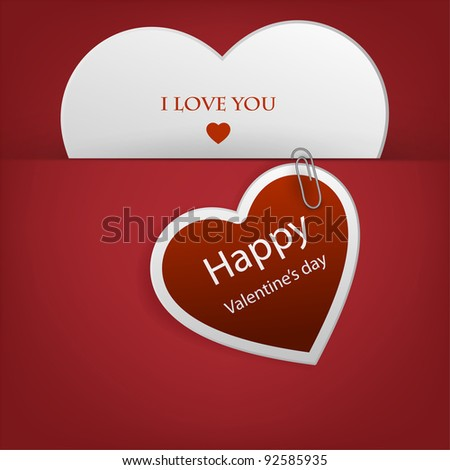 Heart from paper Valentines day card vector background, eps 10 - stock vector