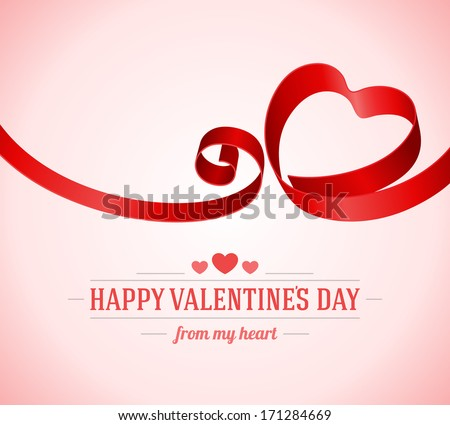 Heart from ribbon Valentine's day vector background. Happy Valentine's day card.  - stock vector