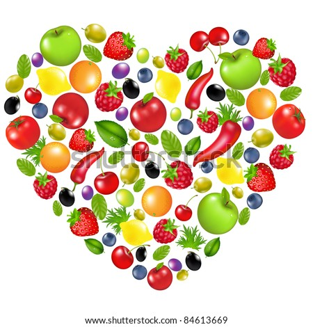 Heart From Vegetables And Fruit, Isolated On White Background, Vector Illustration - stock vector