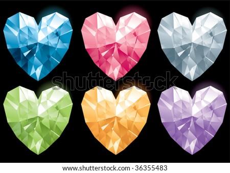 heart gems - stock vector