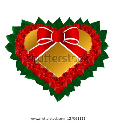 Heart gift box with roses eps8 - stock vector