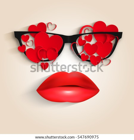 Heart glasses And Lips