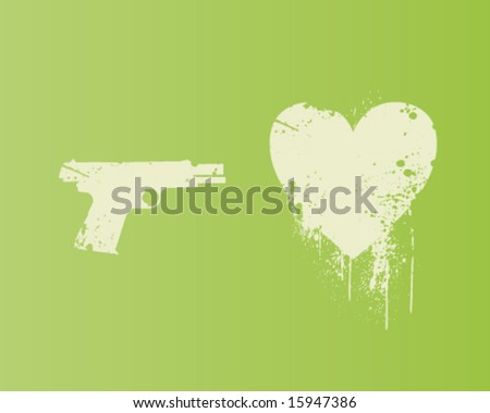 Heart Gun - stock vector
