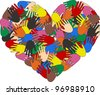 heart hand color ethnic love - stock vector