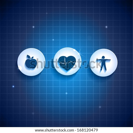 Heart health care concept symbols. Healthy food and fitness leads to healthy heart. Deep blue color background. - stock vector
