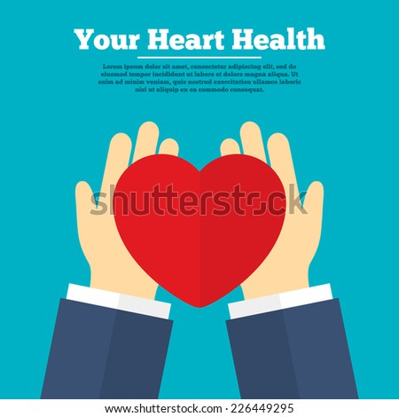 Heart health. Medical donation. Hands hold or give heart. Vector - stock vector