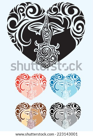 Heart, Heart love with couple people ornament, art vector decoration