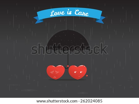 heart hold umbrella to protect another heart from rain storm