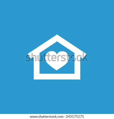 heart home icon, isolated, white on the blue background. Exclusive Symbols  - stock vector