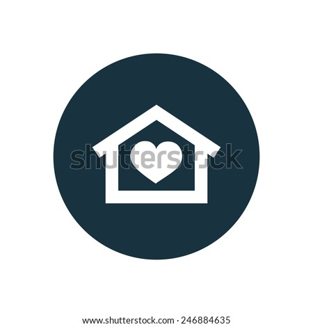 heart home icon on white background  - stock vector