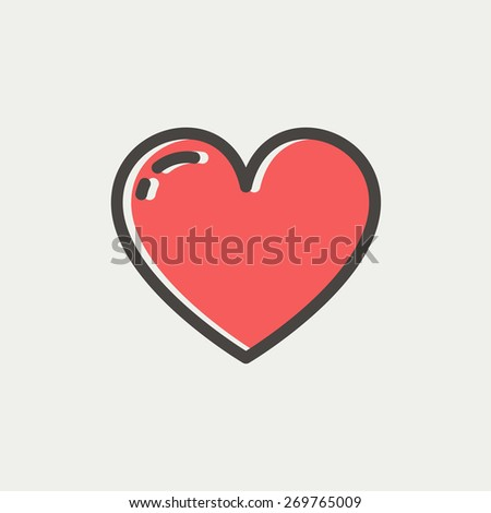 Heart icon icon thin line for web and mobile, modern minimalistic flat design. Vector icon with dark grey outline and offset colour on light grey background. - stock vector
