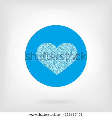 Heart icon in blue color and in flat and doodle style. White and blue colors, small shadow under icon. - stock vector