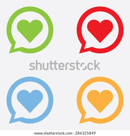 Heart Icon In Chat Bubble - stock vector