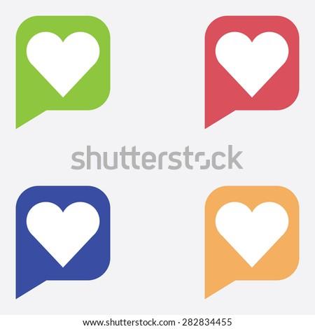 Heart Icon In Dialog Box - stock vector