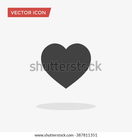 Heart Icon in trendy flat style isolated on grey background. Love symbol for your web site design, logo, app, UI. Vector illustration, EPS10. - stock vector