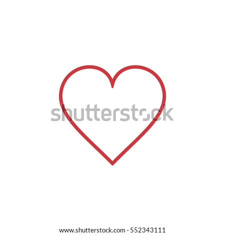 Heart Icon outline red, vector. Love symbol. Valentine's Day sign, isolated on white background, Flat style for graphic and web design, logo.
