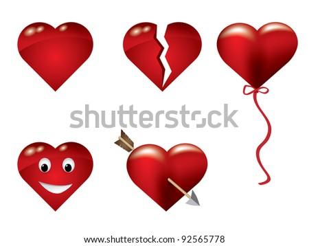 Heart icon set - stock vector