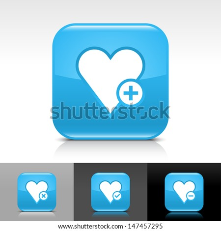 Heart icon set. Blue color glossy web button with white sign. Rounded square shape with shadow, reflection on white, gray, black background. Vector illustration design element 8 eps  - stock vector