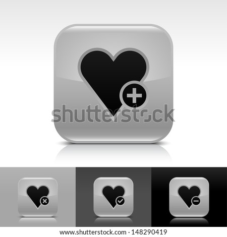 Heart icon set. Gray color glossy web button with black sign. Rounded square shape with shadow, reflection on white, gray, black background. Vector illustration design element 8 eps  - stock vector