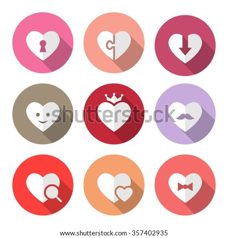 Set Vector Icons Hearts Different Meaning Stock Vector