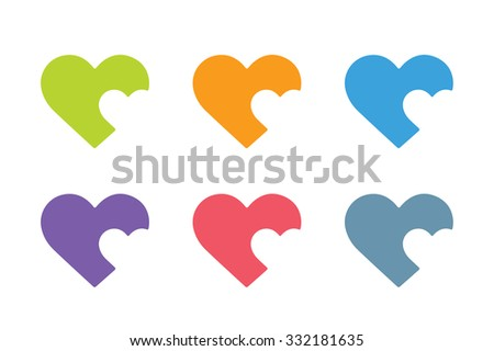Heart icon vector logo. Heart logo, heart shape. Togetherness concept. Together logo. Heart logo. Heart icon. Love, health or doctor and relations symbol. Heart vector logo, heart together icon logo - stock vector