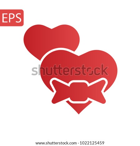 Heart Icon Vector. Love symbol. Valentine's Day sign, emblem isolated on white background with shadow, Flat style for graphic and web design, logo.