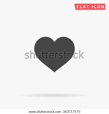 Heart Icon Vector.  Perfect Love symbol. Valentine's Day sign, emblem isolated on white background with shadow, Flat style for graphic and web design, logo. EPS10 black pictogram.